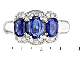 Pre-Owned Blue Kyanite And White Zircon Sterling Silver Ring. 2.53ctw