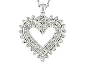 Pre-Owned White Diamond Rhodium Over Sterling Silver Pendant .25ctw