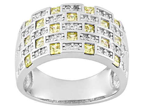 Pre-Owned yellow and white cubic zirconia sterling silver ring 1.86ctw