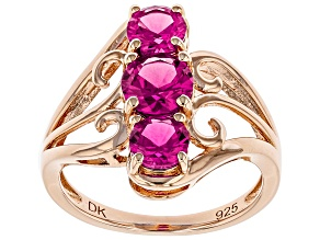 Pre-Owned Pink lab created sapphire 18k gold over silver ring 1.92ctw