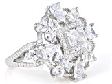 Pre-Owned White Cubic Zirconia Rhodium Over Sterling Silver Center Design Ring 8.10ctw