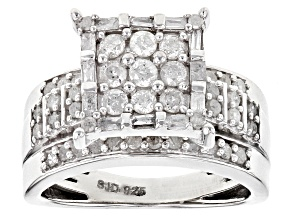 Pre-Owned Diamond Rhodium Over Sterling Silver Ring .90ctw