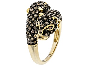 Pre-Owned Red & Champagne Diamond 14k Yellow Gold Over Silver Ring 1.00ctw