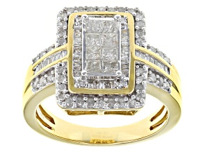 Pre-Owned Diamond 14k Yellow Gold Over Sterling Silver Ring 1.01ctw