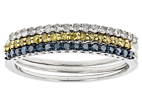Pre-Owned Blue, Yellow And White Diamond Rhodium Over Sterling Silver 3 Ring Set .40ctw