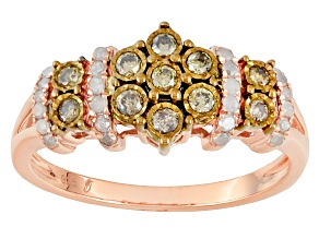 Pre-Owned Champagne And White Diamond 14k Rose Gold Over Sterling Silver Ring .33ctw