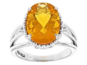 Pre-Owned Orange Brazilian Fire Opal Sterling Silver Ring 3.20ct