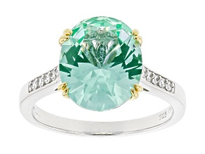 Pre-Owned Synthetic Green Spinel And White Cubic Zirconia Rhodium Over Sterling Ring 4.65ctw