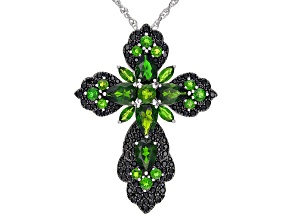Pre-Owned Green chrome diopside rhodium over sterling silver pendant with chain 11ctw
