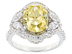 Pre-Owned Yellow & White Cubic Zirconia Rhodium Over Sterling Silver Ring 8.66ctw