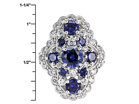 Pre-Owned Blue And White Cubic Zirconia Silver Ring 7.03ctw