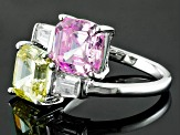 Pre-Owned Pink, Yellow And White Cubic Zirconia Silver Ring 10.20ctw (4.38ctw DEW)