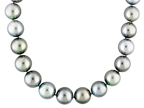Pre-Owned Cultured Tahitian Pearl Rhodium Over Silver Strand Necklace 18 inch