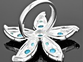 Pre-Owned Turquoise Sterling Silver Over Brass Starfish Ring.