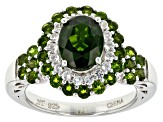 Pre-Owned Green Chrome Diopside Sterling Silver Ring 3.37ctw