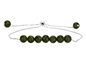 Pre-Owned Green Connemara Marble Silver Adjustable Bracelet