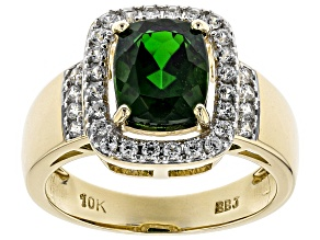 Pre-Owned Green Chrome Diopside 10k Yellow Gold Ring 2.34