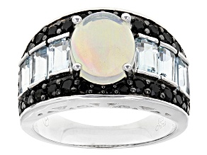 Pre-Owned Ethiopian Opal Sterling Silver Ring 3.91ctw
