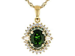 Pre-Owned Green chrome diopside 18k yellow gold over silver pendant with chain 2.50ctw
