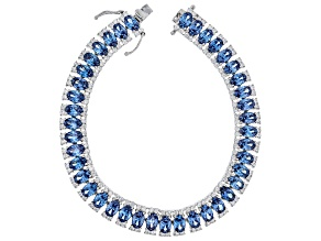 Pre-Owned Blue & White Cubic Zirconia Rhodium Over Sterling Silver Tennis Bracelet 38.13ctw