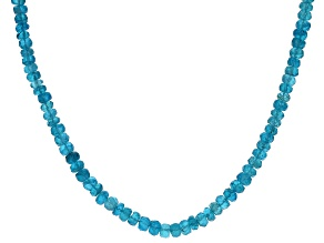 Pre-Owned Blue neon apatite sterling silver necklace approximately 50.00ctw