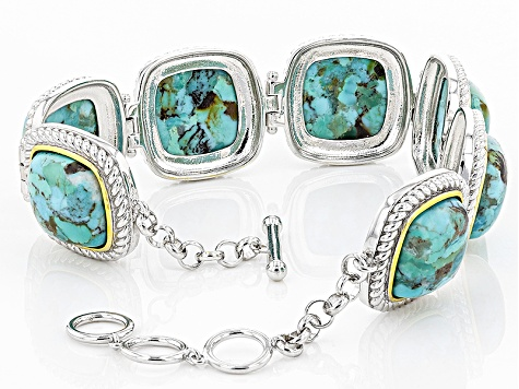 Pre-Owned Blue Turquoise Sterling Silver And 14k Gold Over Silver Two-Tone Bracelet