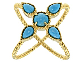 Pre-Owned Blue Sleeping Beauty Turquoise 18k Yellow Gold Over Sterling Silver Ring