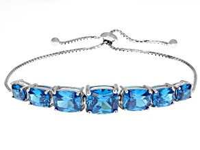 Pre-Owned Blue Cubic Zirconia Rhodium Over Sterling Silver Adjustable Bracelet 18.20CTW