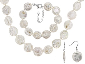 Pre-Owned 16MM CULTURED FRESHWATER PEARL RHODIUM OVER SILVER NECKLACE & BRACELET JEWELRY SET