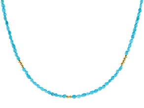 Pre-Owned Blue Sleeping Beauty Turquoise 18k Yellow Gold Over Sterling Silver Necklace