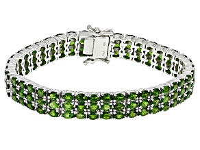 Pre-Owned Green Chrome Diopside Sterling Silver Bracelet 20.76ctw