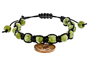 Pre-Owned Green Connemara Marble And Copper Coin Bracelet