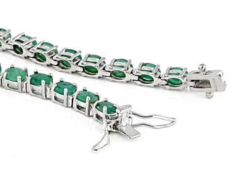 Pre-Owned Green Emerald Sterling Silver Tennis Bracelet 8.50ctw