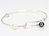 Pre-Owned Cultured Freshwater Pearl, Diamond Simulant Rhodium Over Silver Bracelet 7-7.5mm