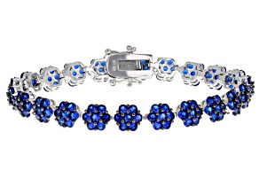 Pre-Owned Blue Lab Created Spinel Silver Bracelet 9.25ctw