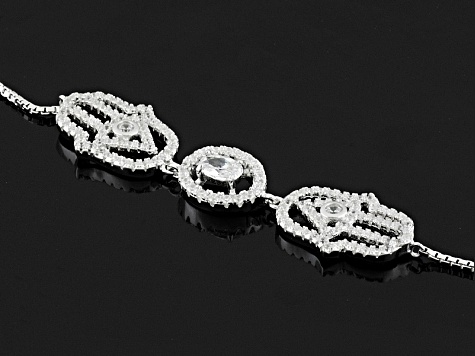Pre-Owned White Cubic Zirconia Rhodium Over Sterling Silver Bracelet 1.73ctw