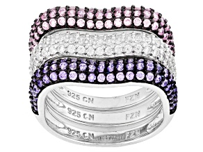 Pre-Owned Pink Purple And White Cubic Zirconia Black/White Rhodium Over Silver Rings 2.08ctw