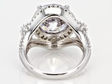 Pre-Owned White Cubic Zirconia Rhodium Over Sterling Silver Ring 11.45CTW