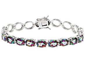 Pre-Owned Green Mystic Topaz® sterling silver bracelet 11.55ctw