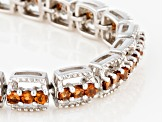 Pre-Owned Orange Mandarin Garnet Sterling Silver Bracelet 5.33ctw