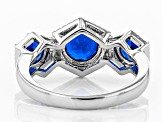 Pre-Owned Blue lab created spinel rhodium over silver ring 2.06ctw