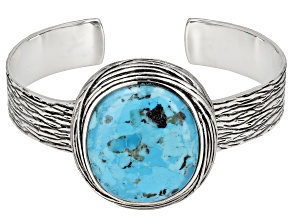 Pre-Owned Oval Cabochon Turquoise Sterling Silver Cuff Bracelet