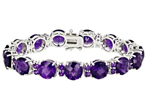 Pre-Owned Purple amethyst rhodium over silver bracelet 40.04ctw