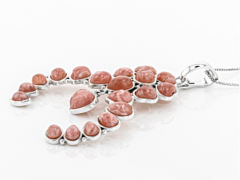 Pre-Owned Pink Rhodochrosite Sterling Silver Enhancer With Chain