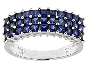 Pre-Owned Blue Lab Created Sapphire Sterling Silver Ring 1.85ctw