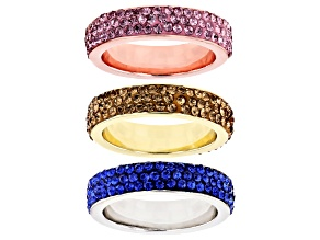 Pre-Owned  Round Pink, Blue & Yellow Crystal, Tri- color Band Rings Set of Three