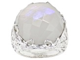 Pre-Owned Rainbow Moonstone Sterling Silver Solitaire Ring