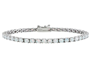 Pre-Owned Oval 3.10ctw Opal Simulant Rhodium Over Sterling Silver Tennis Bracelet