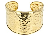 Pre-Owned 18k Yellow Gold Over Bronze Hammered 8 inch Cuff Bracelet