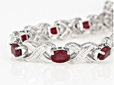 Pre-Owned Red ruby rhodium over silver bracelet 8.34ctw